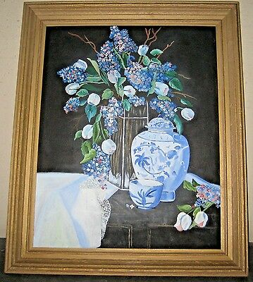 Carved Vintage Frame Orientalist Still-Life painting signed Marilyn Crosby