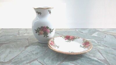 Royal Albert Old Country Roses Small Plate and Small Vase