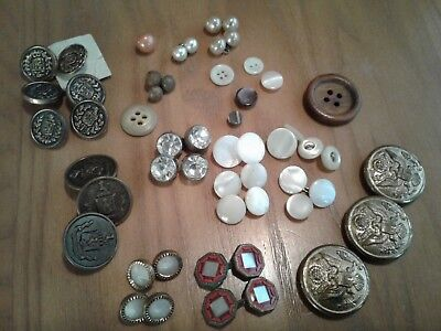 Vintage Lot of Buttons Pearl, Glass, Wood, Metal, Bakelite, and Plastic