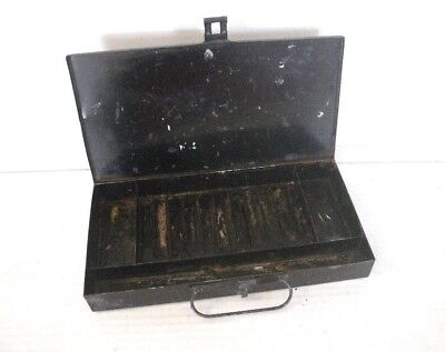 Antique 19th 20th Century Black Tin Metal Box for Artist Oil Paint Tubes Brushes