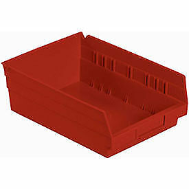 "Plastic Shelf Bin Nestable 8-3/8""W x 11-5/8"" D x 4""H Red, Lot of 12"