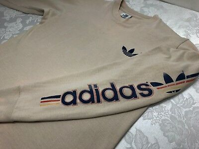 Vintage 80's ADIDAS 3 Stripe Trefoil Long Sleeve T Shirt MADE IN USA! FLAWS