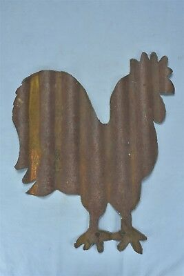 Rusty Metal ROOSTER Yard Wall Garden Art Hand Cut Chicken Old Corrugated Tin