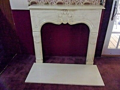 Cultured Travertine Marble Vintage Fireplace Mantel, Surround & Hearth