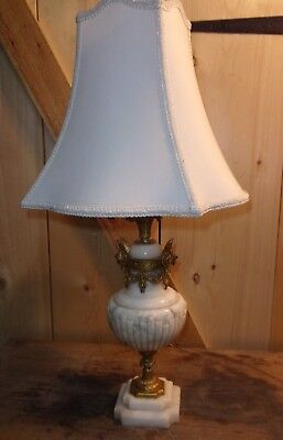 Vtg Antique Cupid Cherub  Gold Brass Large Marble   Electric Table Lamp