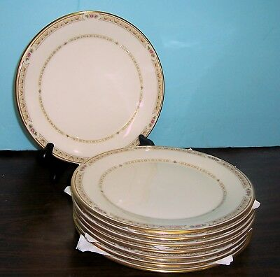 """Lot Of 8 Gorham Chapel Hill Dinner Plates 10.75"""" Free U S Shipping Made In U.s.a"""