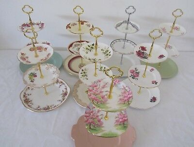 3 Tier Large Vintage CAKE STANDS English Fine China High Tea Cup Cakes Wedding Z