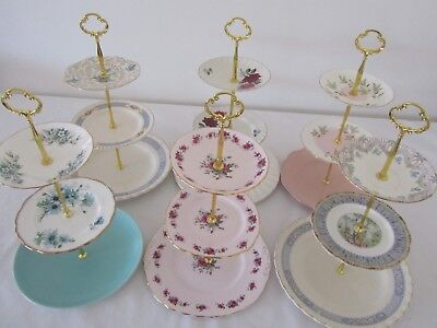 3 Tier Large Vintage CAKE STANDS English Fine China High Tea Cup Cakes Wedding V