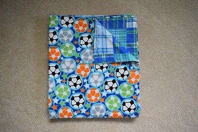 Handmade Colorful Soccer Ball Flannel Blanket- Double Thickness
