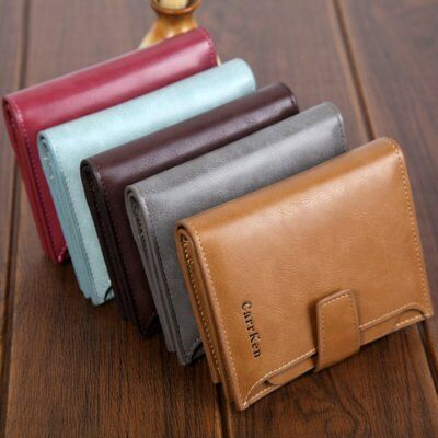 Large Capacity Genuine Leather Mens Trifold Wallet RFID Blocking Anti Scan Zip A