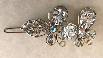 Vintage Inspired Victorian Double Butterfly Crystal Barrette Gold Metal