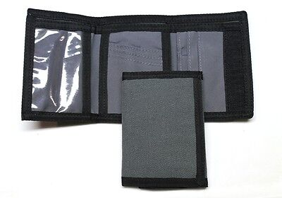 Nylon Trifold Credit Card Wallet- Gray