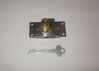 New Corbin Brass Cabinet or Draw Lock 1 Key - Plate size 1 1/4 x 2 3/4