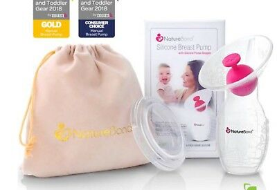 Natures bond silicone breast pump new in plastic with silicone pump stopper