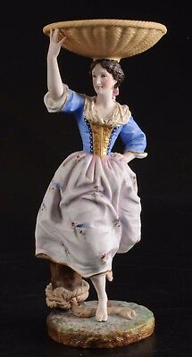 Antique French Jean Gille Bisque Figurine Of Maiden With Basket Rare