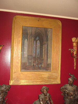 Nicola D'ascenzo Watercolor Gothic Cathedral Painting Arts&crafts Gilt Frame