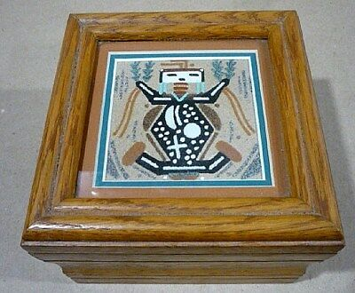 Older Navajo Native American Sand Art Painting Box,  By Artist Theresa Frank