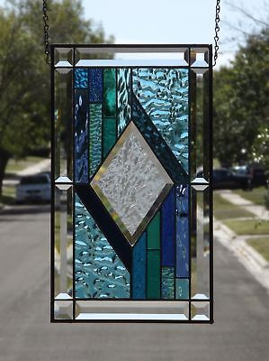 "• Center Stage  •Beveled Stained Glass Window Panel • Ea. 19 1/4"" x 11 1/4"""