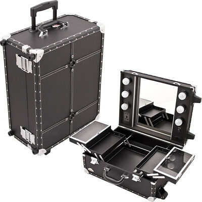 All Black Leather-Like Professional Rolling Makeup Studio Case with Lights, M...
