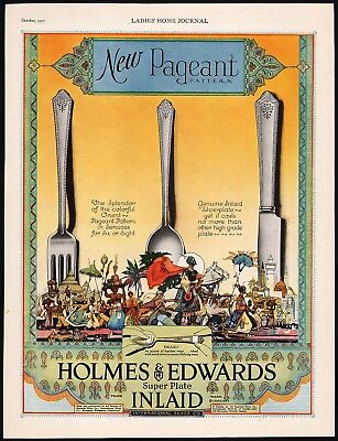 Vintage magazine ad HOLMES and EDWARDS INLAID silver 1927 Orient Pageant Pattern