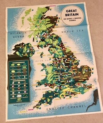 Rare Antique World War II Map – Great Britain: Her Natural Resources