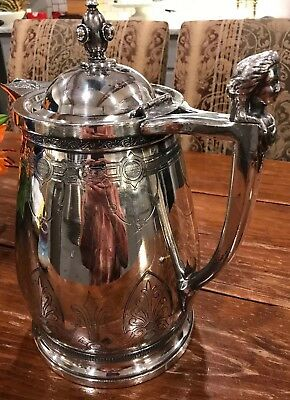 """Large 1860's  STIMPSON'S SILVER PLATE MERIDAN DOUBLE WALL PITCHER 13"""""""