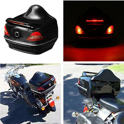 Universal Motorcycle Top Box Rear Lock Safe Case w/ Brake Indicator Light Mounts