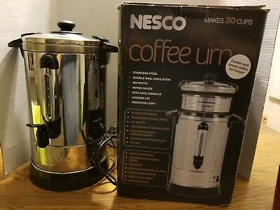 Nesco 30-cup Coffee Urn Stainless Steel Water Gauge Cool Touch Handles