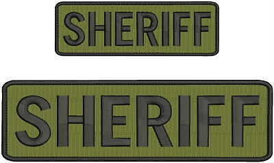 """""""Sheriff"""" embroidery patch 3x10 and 2x4 inches hook OD green black letters"""