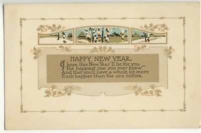 arts craftsart nouveau early divided back happy new year card