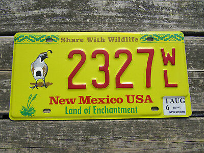 New Mexico Quail License Plate Share With Wildlife Land of Enchantment NM