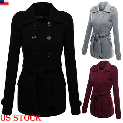 WOMENS Ladies Collared Winter Long Peacoat Coat Trench Outwear Jacket S-2XL