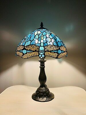 Tiffany Lamp Sea Blue Stained Glass and Crystal Bead Dragonfly Style