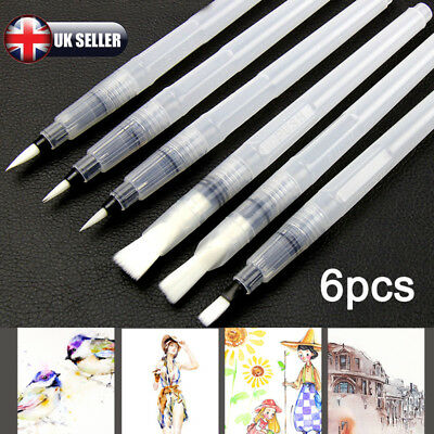 6x Artist Ink Pens Water Brush Set Watercolor Calligraphy Painting Drawing Tools
