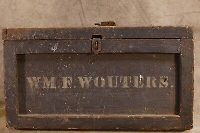 Antique Primitive Wooden Carpenters Chest Named/ Stenciled