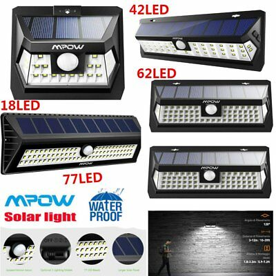 Mpow LED Solar Power Light Motion Sensor Security Bright Outdoor Wall Lamp 3Mode