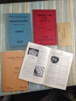 Lot Vtg 1950's GARDEN SEED CATALOGS-BEAUTIFULLY ILLUSTRATED- Comstock Ferre Ct