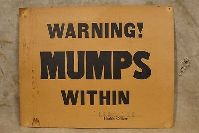 1940's Vintage Mumps Virus Within Health Warning Sign (Named in pencil)
