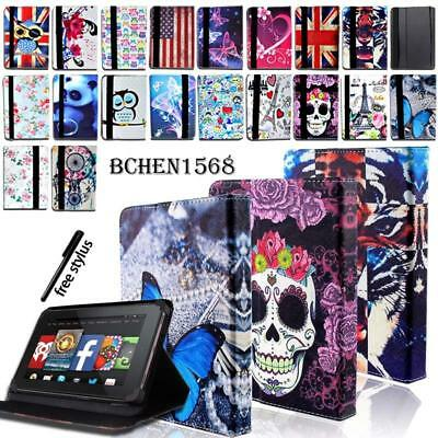For Amazon Kindle Fire 7 / HD 8 /HD 10 alexa Tablet - Leather Stand Cover Case