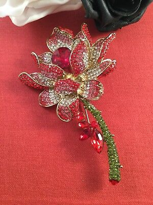 Vintage Large Runway Statement Brooch Pin Red Christmas Rose for Coat Hat Scarf