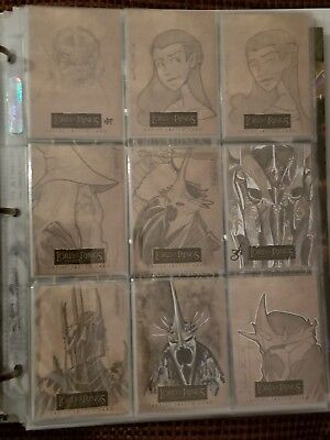 Lord Of The Rings Masterpieces Topps Trading Card Set - 19 Sketch - 24 Foil