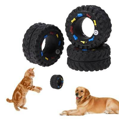 2Pcs Pet Dog Activity Training Tire Shape Squeaker Squeaky Sound Chew Play Toy