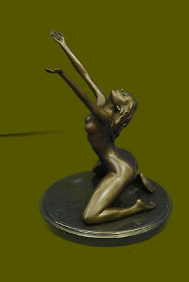 Signed Decor Bronze Sculpture Cubism Nude Girl Abstract Modern Statue Figure