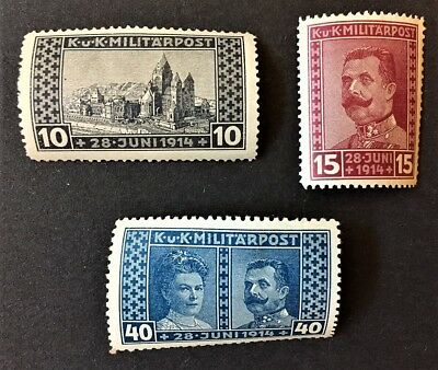 Set of 3 1914 BOSNIA and HERZEGOVINA Postage Stamps MINT & HINGED