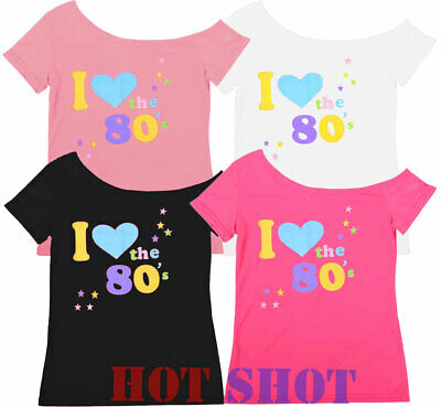 Womens Ladies Top 'I Love 80s' T-Shirt Fancy Dress Costume Neon Festival Outfit