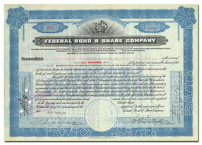 Federal Bond & Share Company Stock Certificate