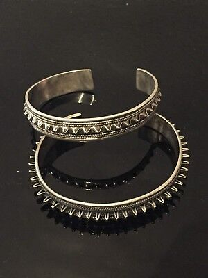 Two vintage Sterling silver spikey cuff bangles