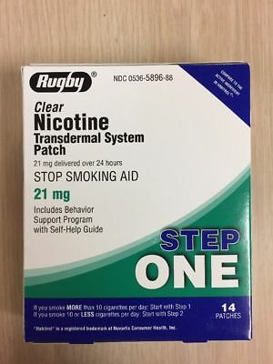 STEP 1 Rugby Stop Smoking Aid EXP 04/2020 Nicotine Transdermal 14 Patches