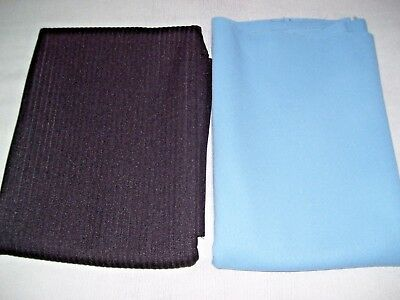 """Vintage In Lot of 2 Polyester Double knit  Fabric In Black 63""""Wx31""""L & Sky Blue"""
