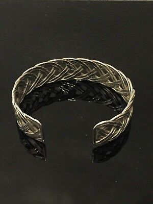 Vintage Sterling silver cuff bangle with lattice design